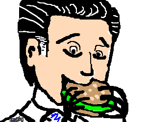 Mitt Romney enthusiastically eats an hamburger