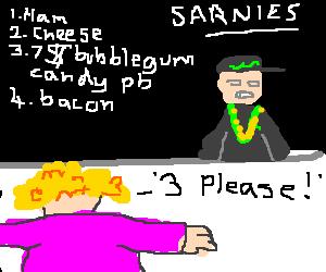 fat (wo)man?offers 7$bubblegum candy pb sandwich