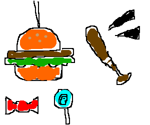 Burger filled with candy