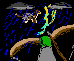 Archer takes aim at hippogriff in thunderstorm