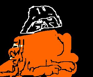 Garfield with Darth Vader mask
