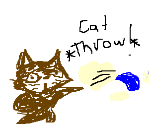 Brown cat throwing water.