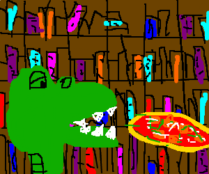 dinosaur is enjoying a pizza at the library