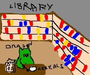 Happy dragon eats cereal in a library