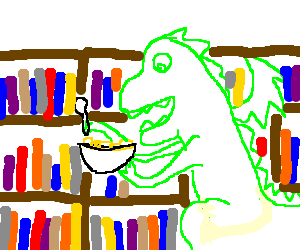 A dragon eating cereal in a library