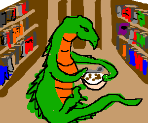 Green dragon gently eating ceral at the library
