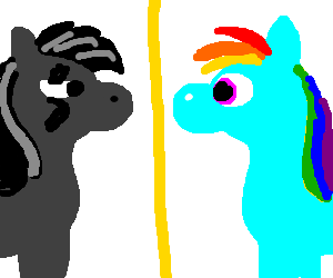 Rainbow Dash sees reflection, goth MechaTwilight