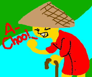 Old Asian rice farmer sneezing.