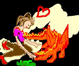 Girl loves puking dragon