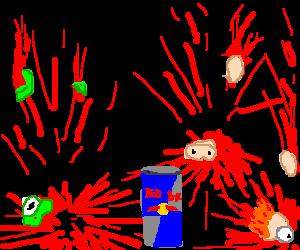 Beaker,Kermit,Grover,Piggy explode after RedBull