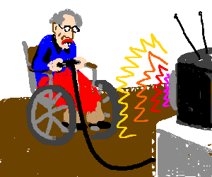 old man in wheelchair plays PS3
