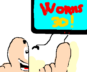 3D Worm plays worms 3D in 3D