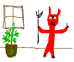 Evil Devil secretly grows pot in his house