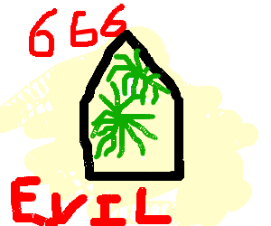 pentagram covered in palms with 666 around.EVIL!
