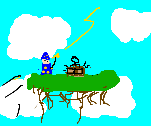 Wizard and bongo player on a floating island