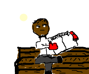 Black guy in boxing gloves reads newspaper