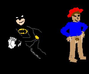 Batman steals underwear from redhatted man