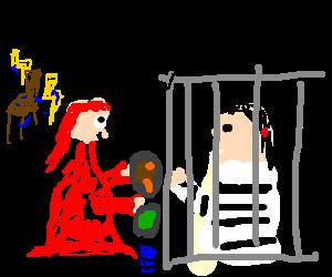 Lady in red brings prisoner his last meal