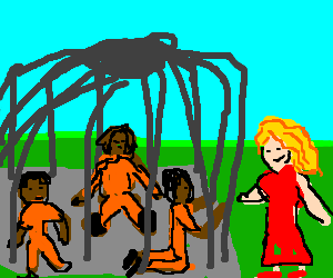 happy woman with 3 little black slaves in a cage