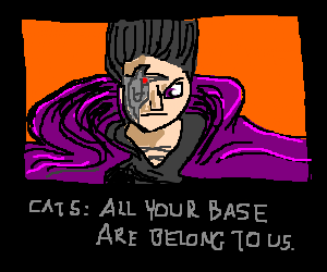 Black cat face saying All Your Base
