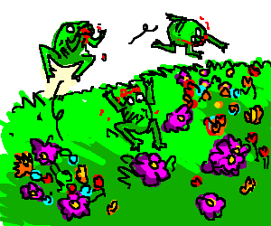 Zombie frogs frolicking through a flowery field.