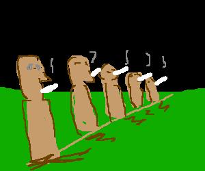 Easter Island statues enjoying cigarettes