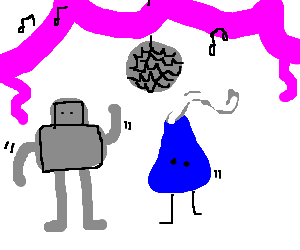 Robot and blue Hershey's kiss dance at prom