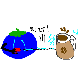 A blue tomato taserguns a cup of coffee