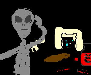 Alien watches ferret drown sorrows in Kool Aid