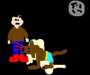 A werewolf biting a man.