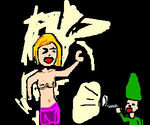 topless girl yells at midget using a loudspeaker