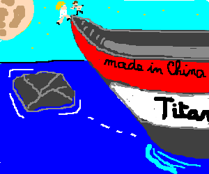 Titanic made in China about to crash into rock