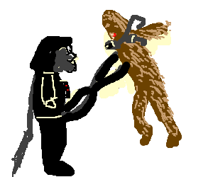 Darth Vader strangles Chewbacca with his 2 penis