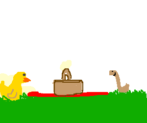 Chick and Worm have a Picnic