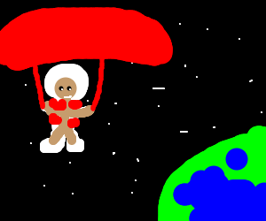 Astronaut parachuting in space