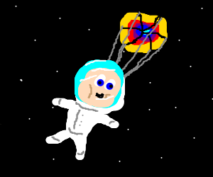Baby-naut parachuting through space