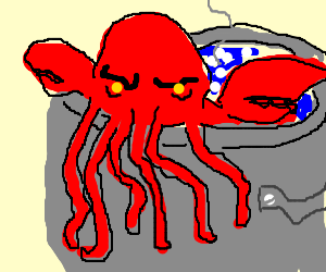 Lobsterthulhu in a pot of boiling water