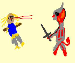 Laser scarecrow fights demon knight