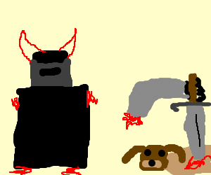 devil knight stabs puppy with sword
