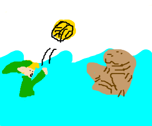 Link and manatee play water polo