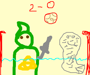link playing water polo w/ wrinkly seal