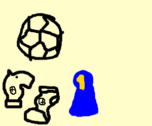 A knight and a sock are winning soccer