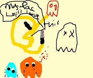Pacman skins ghost, friend weeps
