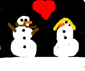 snowman with mustache finds love
