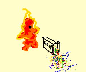 Man spills sprinkles. Bursts into fire