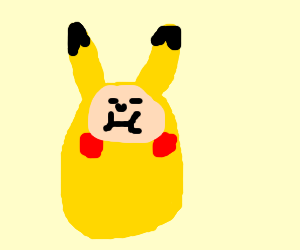 Fat boy dressed as Pikachu.