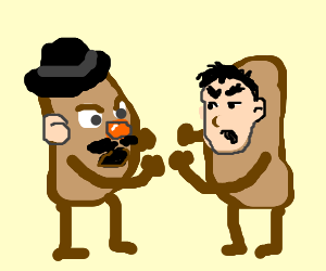 mr potato face figthing with evil twin