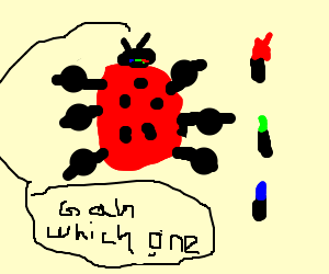 Buff ladybug considers lipstick
