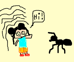 Ni Hao, Kai-Lan shrinks and greets ant.