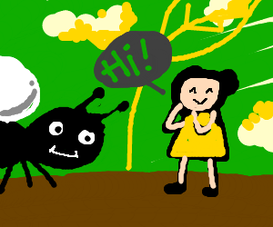 Thumbelina greets black ant